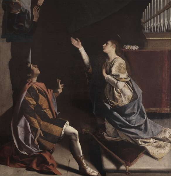 The holy martyrs Cecilia, Valerian and Tiburcio visited by the Angel, by Orazio Gentileschi, 1620, 17th Century, 1620, 17th Century, oil on canvas