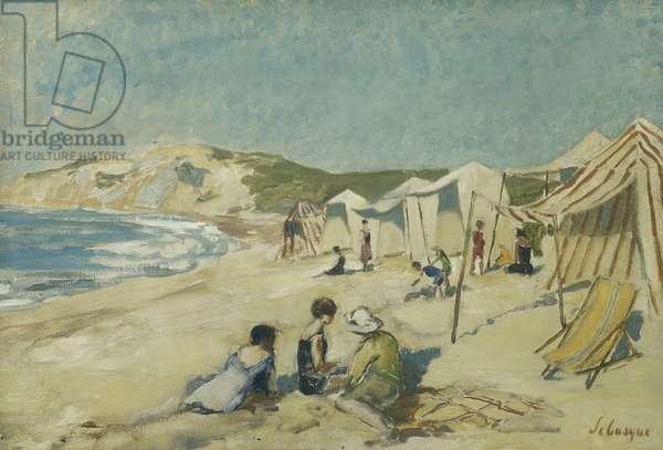 The Beach at Pointe St Gildas; La Plage a la Pointe St Gildas, c.1920 (oil on canvas)
