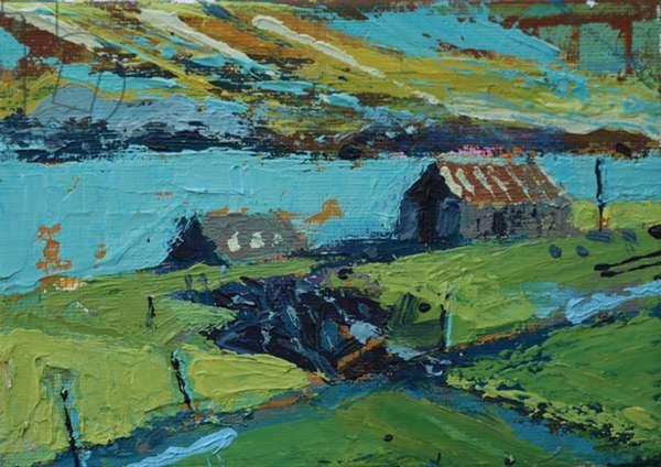 Farm by the sea (acrylic on canvas)