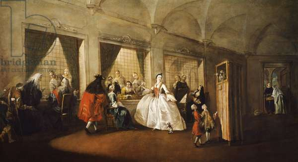 Parlor of Nuns at San Zaccaria, 1746, by Francesco Guardi (1712-1793), oil on canvas, 108x208 cm