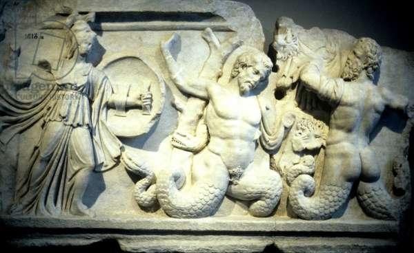 Struggle of Athena and the Giants , Titan Oceanus or Tritons , Mermen . From Aphrodisias . 2C AD