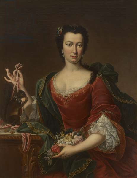 An Unknown French Lady holding Flowers and a Red Squirrel