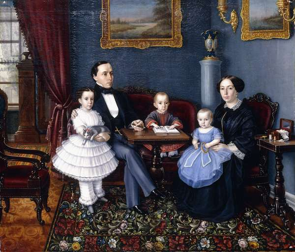 Portrait of a Young Family, 1855 (oil on canvas)