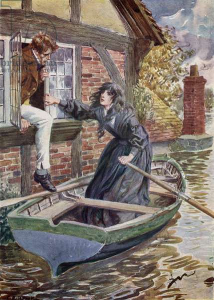 Maggie Tulliver rescues Tom at the Mill (colour litho)
