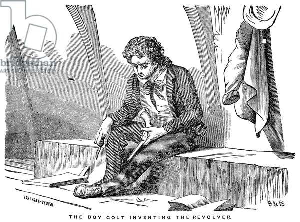 SAMUEL COLT (1814-1862) American inventor. Colt, as a youth of 16 aboard a Boston, Massachusettes, ship bound for the East Indies, whittling a wooden model of the revolving pistol he would patent in 1835. Wood engraving, American, 19th century.