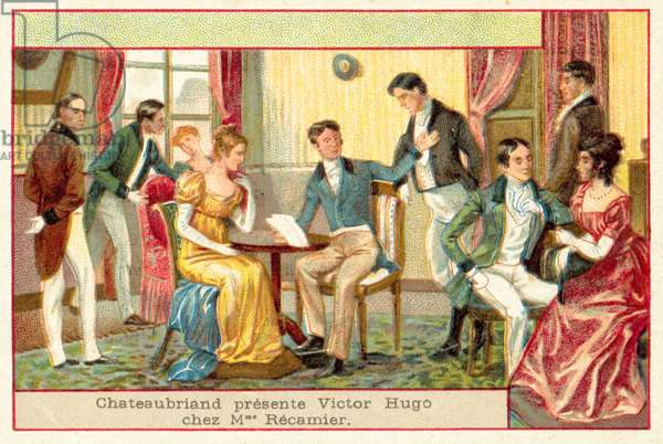 Chateaubriand presents Victor Hugo at the salon of Madame Recamier (chromolitho)