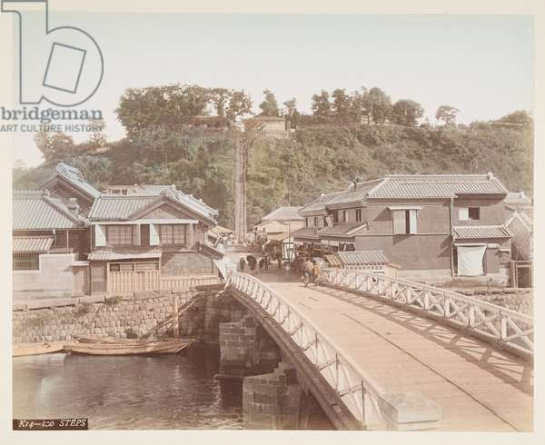 Bridge leading to the hundred steps in Yokohama, from A Book of Coloured Photographs of views in Japan, 1895 (coloured photo)