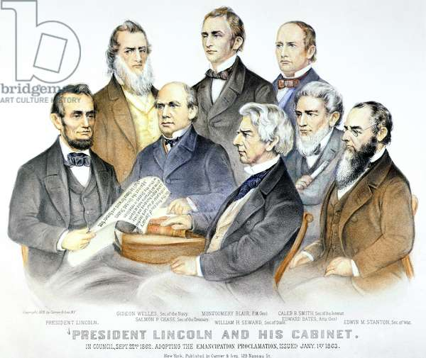 ABRAHAM LINCOLN'S CABINET President Lincoln and his cabinet in council on 22 September 1862, adopting the Emancipation Proclamation, issued 1 January 1863. Lithograph by Currier & Ives, 1876.