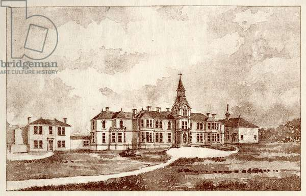 The Newcastle upon Tyne Lunatic Asylum, Coxlodge, c.1829 (photolitho)