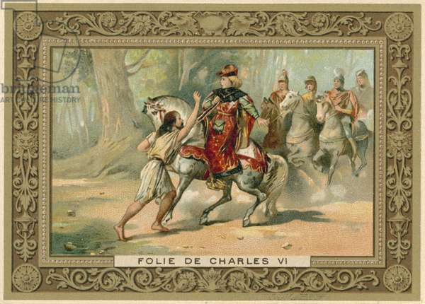 Trade card depicting an attack on King Charles VI of France (chromolitho)