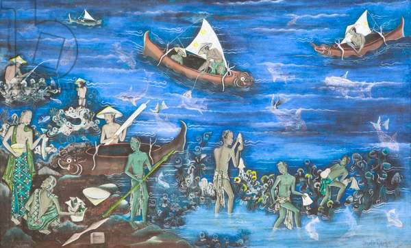Looking for fish in the sea, 1955 (tempera on canvas)