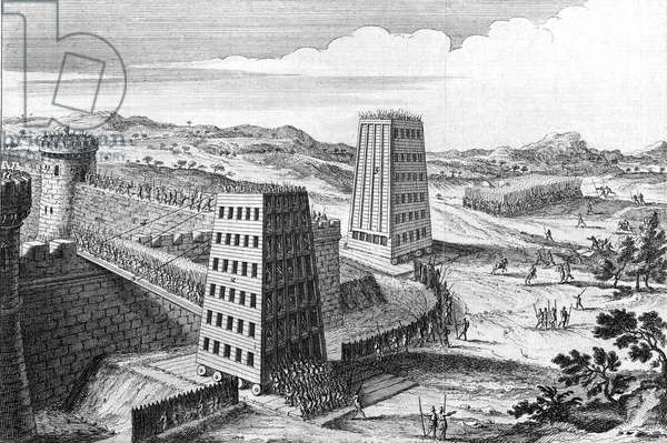 Wheeled siege towers and bridges of type used by Frederick II of Germany, Holy Roman Emperor for successful siege of Jerusalem (1229) ending 6th Crusade and 10 years truce. 18th century engraving.