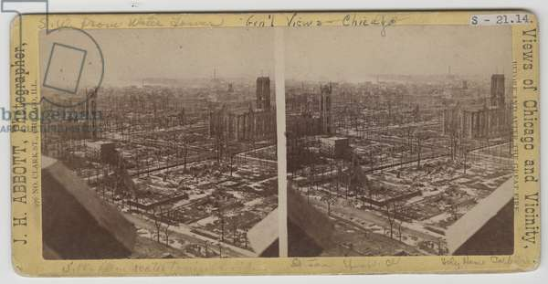 Stereograph of view southwest from Water Tower after the Chicago Fire of 1871