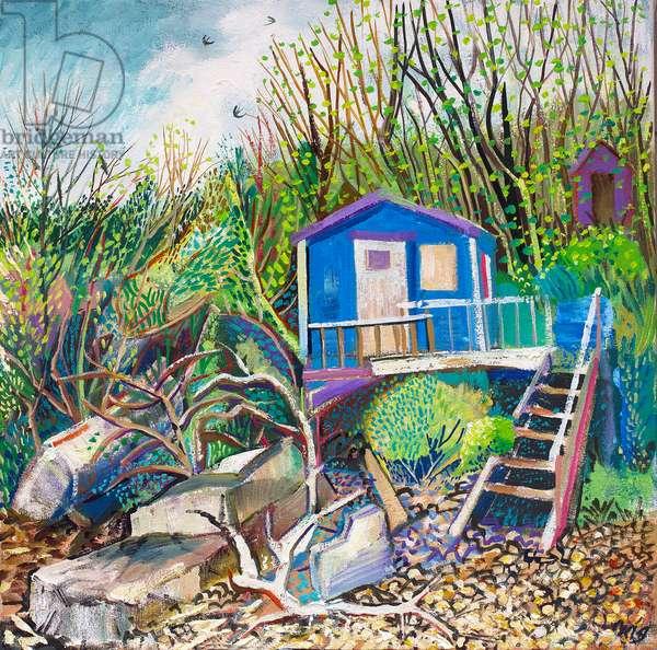 Beach Hut Spring, 2018 (oil on canvas)