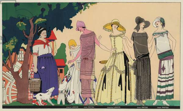 Women's fashion of the 1920s by designers Jeanne Lanvin and Jean Patou (colour litho)