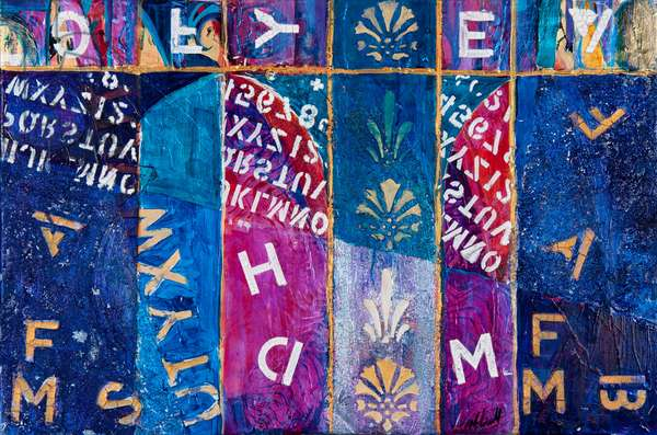Letters Free Fall, 2012 (acrylic on canvas)