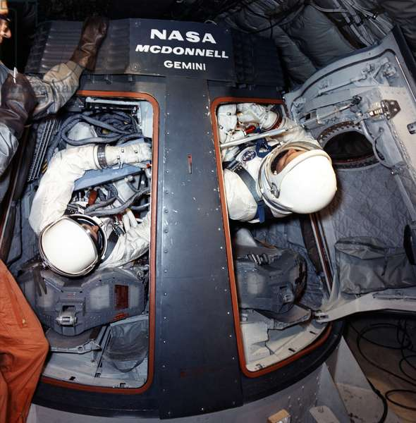GEMINI 10: TRAINING, 1966 Astronauts John Young and Michael Collins in training for the Gemini 10 mission. Photograph, 1966.