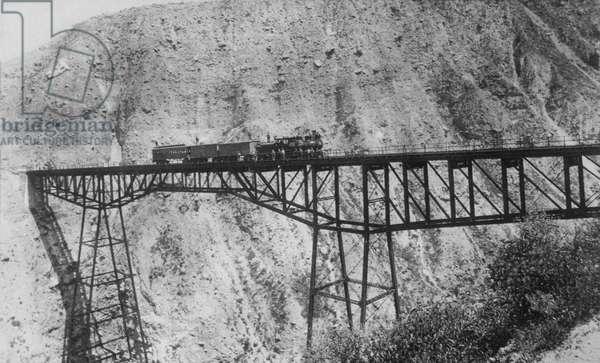 Train on Trestle Bridge, Western USA, circa 1900