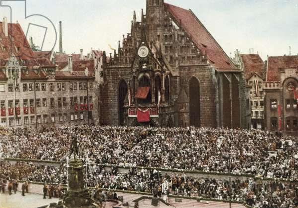 Tribune in front of the Frauenkirche church at the Nazi Party's Nuremberg Rally, Germany, 1933 (colour photo)