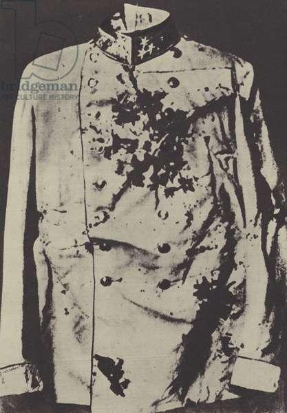 Tunic of the assassinated Archduke Franz Ferdinand of Austria, 1914 (b/w photo)