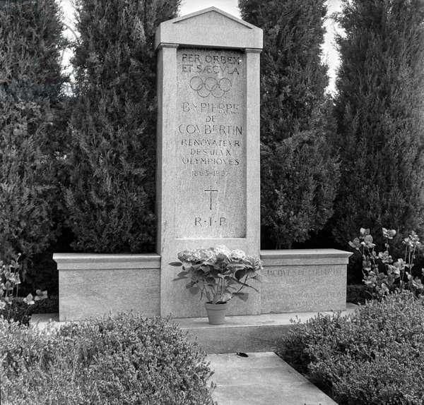 Switzerland Pierre De Coubertin, 1938 (b/w photo)