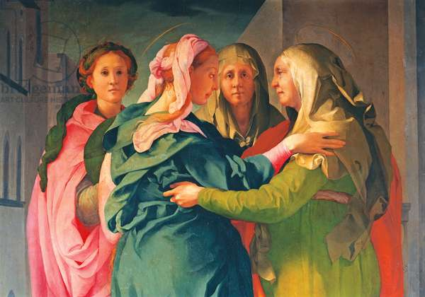 Visitation (Visitazione), by Jacopo Carucci known as il Pontormo, 1528 - 1529, 16th Century, oil on wood, 202 x 156 cm