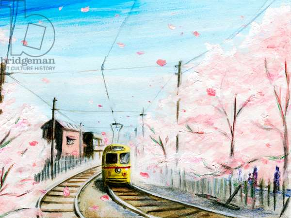 Tram in Cherry Blossoms, 2015, (Acrylic paint on paper)