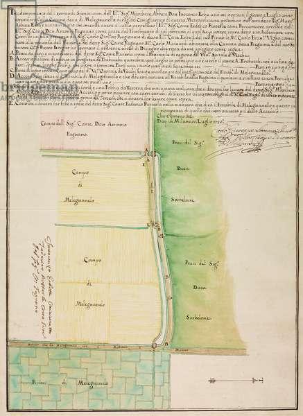 Plan for construction of access bridge to field of Count Don Antonio Fagnano, Melegnanello, parish of Saint Julian, July 18, 1736, Italy, 18th century