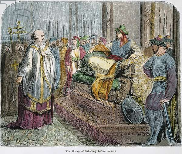 SALADIN (1138-1193) Muslim sultan, receiving the English Bishop of Salisbury in Jerusalem in 1192. Wood engraving, 19th century.