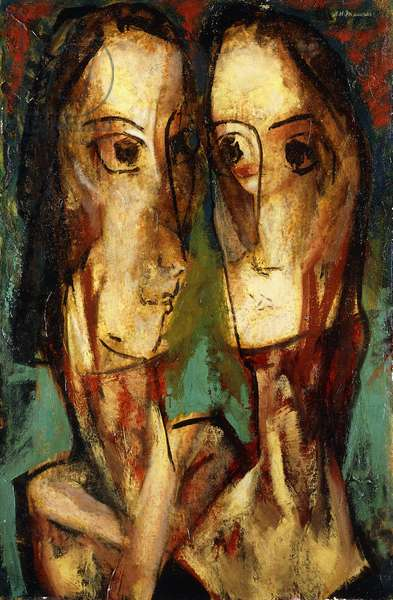 Two Heads, c.1928 (oil on canvas laid down on board)