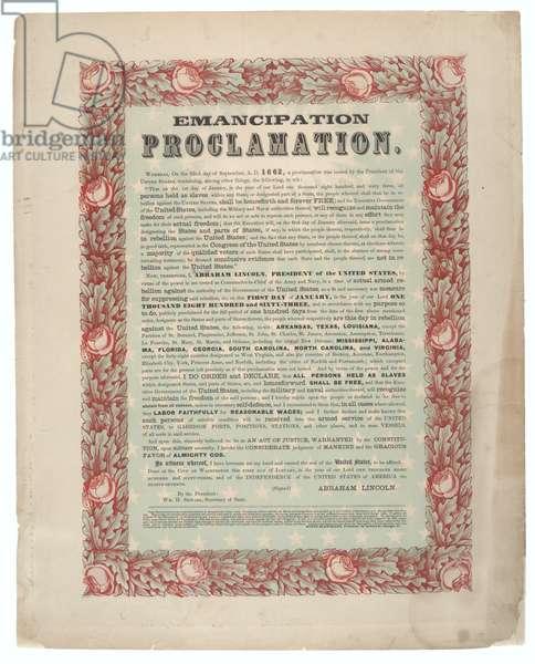 Emancipation Proclamation, printed by Rufus Blanchard, c.1863-1864 (colour litho)