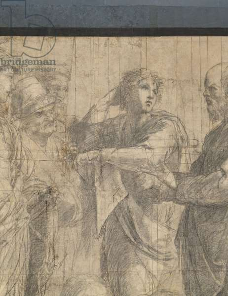 Aeschines and Alcibiate or Alexander the Great, Aristodemus, Crito, Xenopho and Socrates, Detail of the preparatory cartoon for The School of Athens, 1510 (charcoal and white lead)