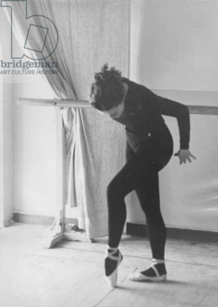 Maya Plisetskaya at rehearsal, Bolshoi Theatre, Moscow, 1970s (b/w photo)