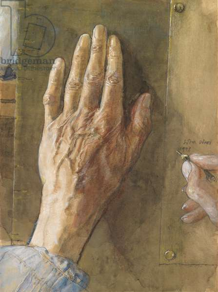 The Artist's Hands, 1998 (w/c & pencil on paper)