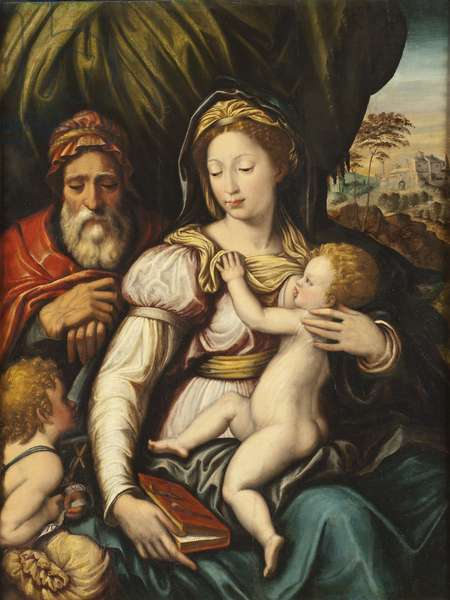 The Holy Family with the Infant St John (oil on canvas)