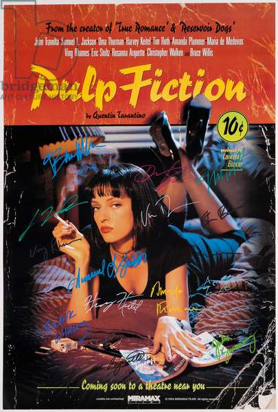 A signed 'Pulp Fiction' (1994) poster, 1994 (colour litho)