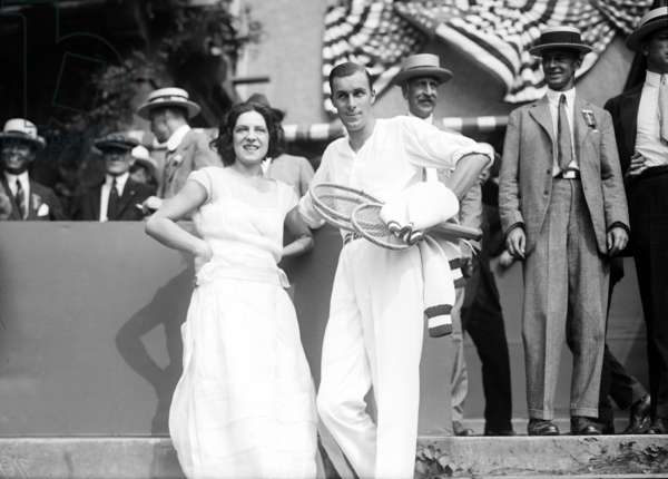 Tennis players Suzanne Lenglen (1899-1938) and Bill Tilden (1893-1953) in september 1922 at time of Davis Cup in New York