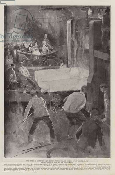 The Queen at Sheffield, Her Majesty witnessing the Rolling of an Armour-Plate (litho)