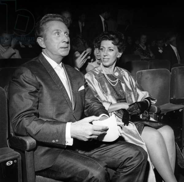 Charles Trenet at the Premiere of Paul Anka, Olympia, Paris, 12 September 1963 (photo)
