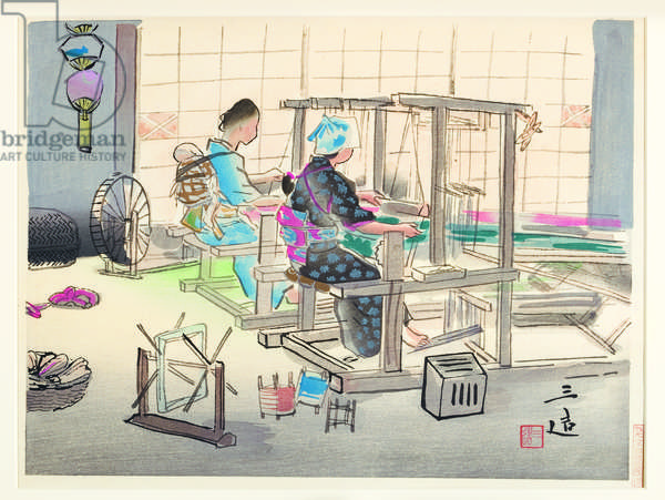 Weaving at Looms, 1945-60 (woodblock)