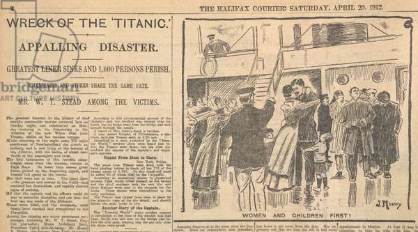 'Wreck of the Titanic' . 'Women and children first'. Newspaper report.
