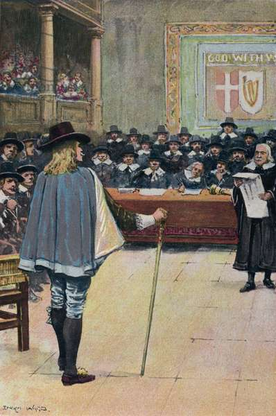 Trial of King Charles I (colour litho)