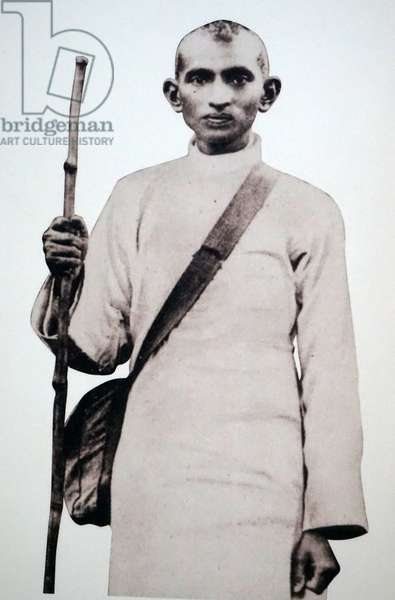 Young Satyagraha and future Mahatma Gandhi with a haversack and a stick, South Africa