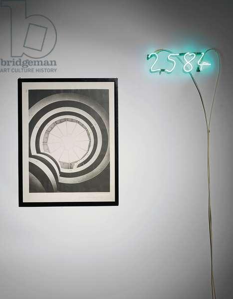Fibonacci, 1972 (ink on photo & neon)