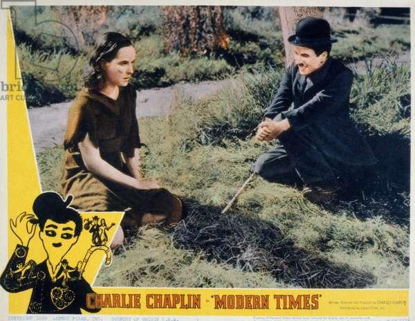 Affiche du film Les temps modernes MODERN TIMES de CharlesChaplin avec Charlie Chaplin, Paulette Goddard 1936