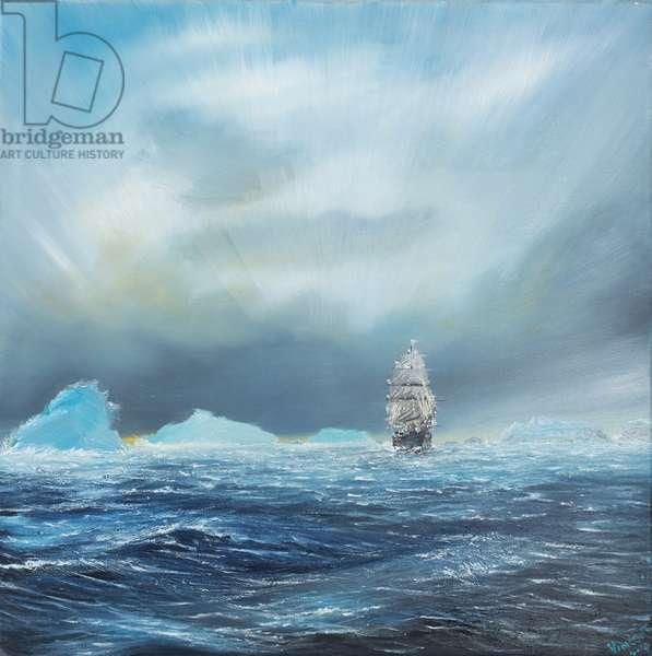 Ice Dominion, Terra Nova passes Ice Burgs, 2014, ( oil on canvas)