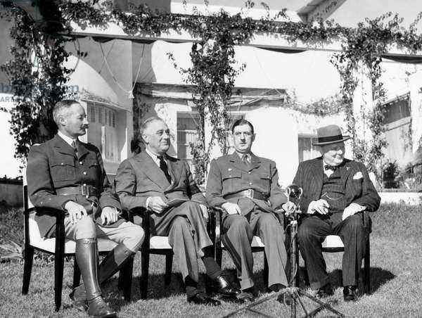 General Henri Honore Giraud, High Commissioner of French North Africa; President Franklin D. Roosevelt, General Charles De Gaulle, military leader of the French; British Prime Minister Winston Churchill, on the lawn of the Anfa Hotel in Casablanca, French Morocco, February 1, 1943