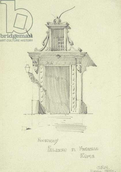Doorway, Palazzo di Venezia, Rome, 1891 (pencil on paper)