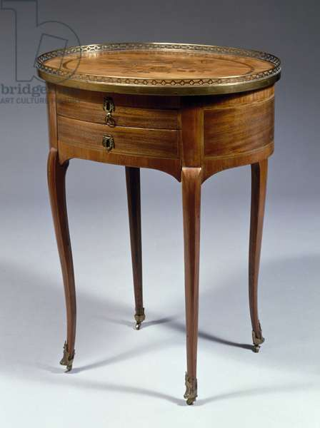 Louis XV style table with inlaid mahogany veneer finish and marble top, France, 18th century