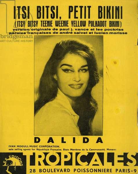 Iolanda Gigliotti dit Dalida French singer and actress 1933 1987 Sheet music for the song Itsi bitsi petit bikini in 1960